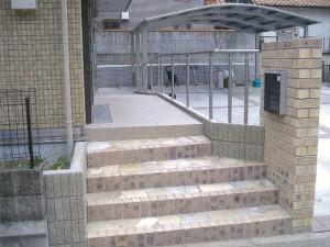 乱形石貼りの階段