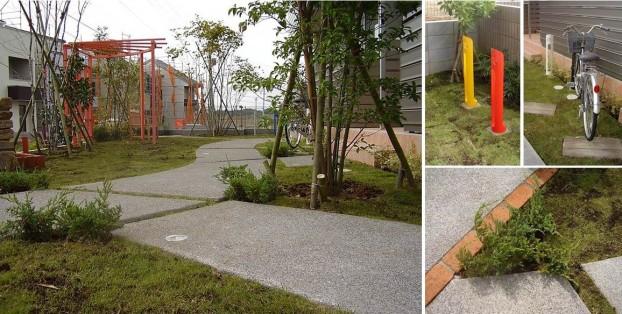 緑豊かで開放的な共有緑地