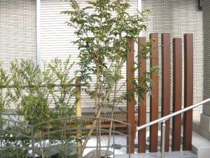 ウリン材の角材と植栽